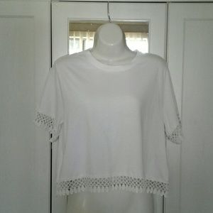 NWT White Lace Trim Top